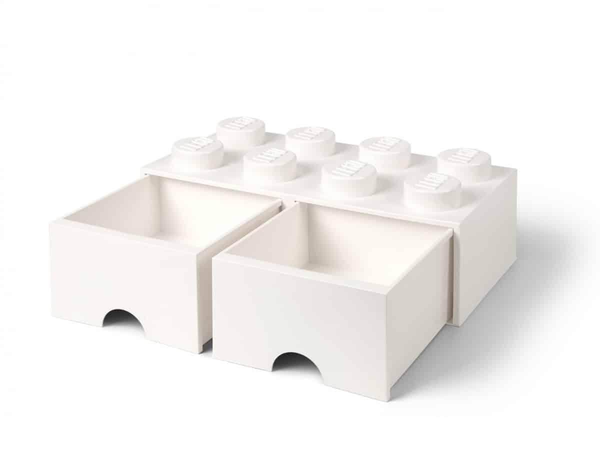 ladrillo de almacenamiento blanco de 8 espigas con cajones lego 5006209 scaled