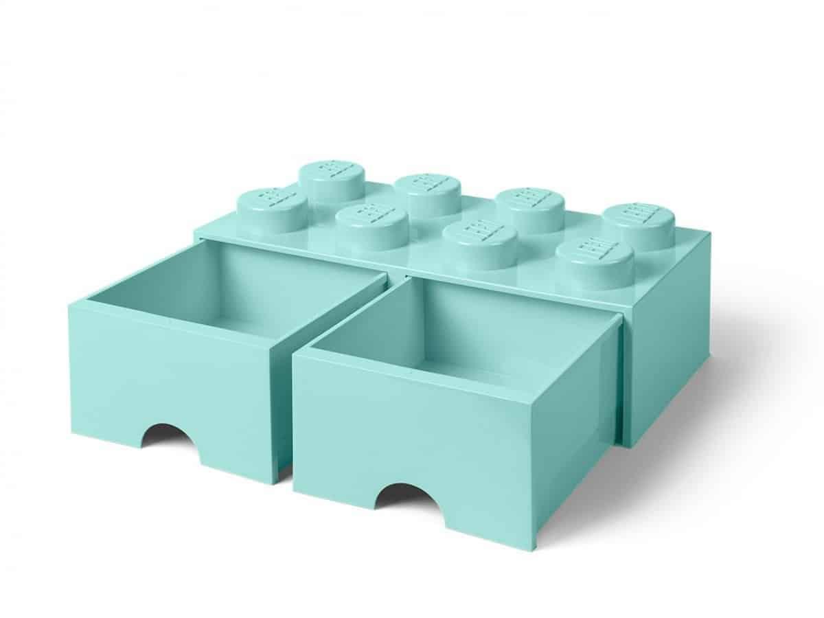 ladrillo de almacenamiento con cajones azul aguamarina claro de 8 espigas lego 5006182 scaled