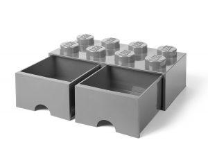 ladrillo de almacenamiento con cajones gris piedra medio de 8 espigas lego 5005720