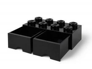 ladrillo de almacenamiento con cajones negro de 8 espigas lego 5006248