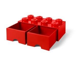 ladrillo de almacenamiento rojo de 8 espigas con cajones lego 5006131