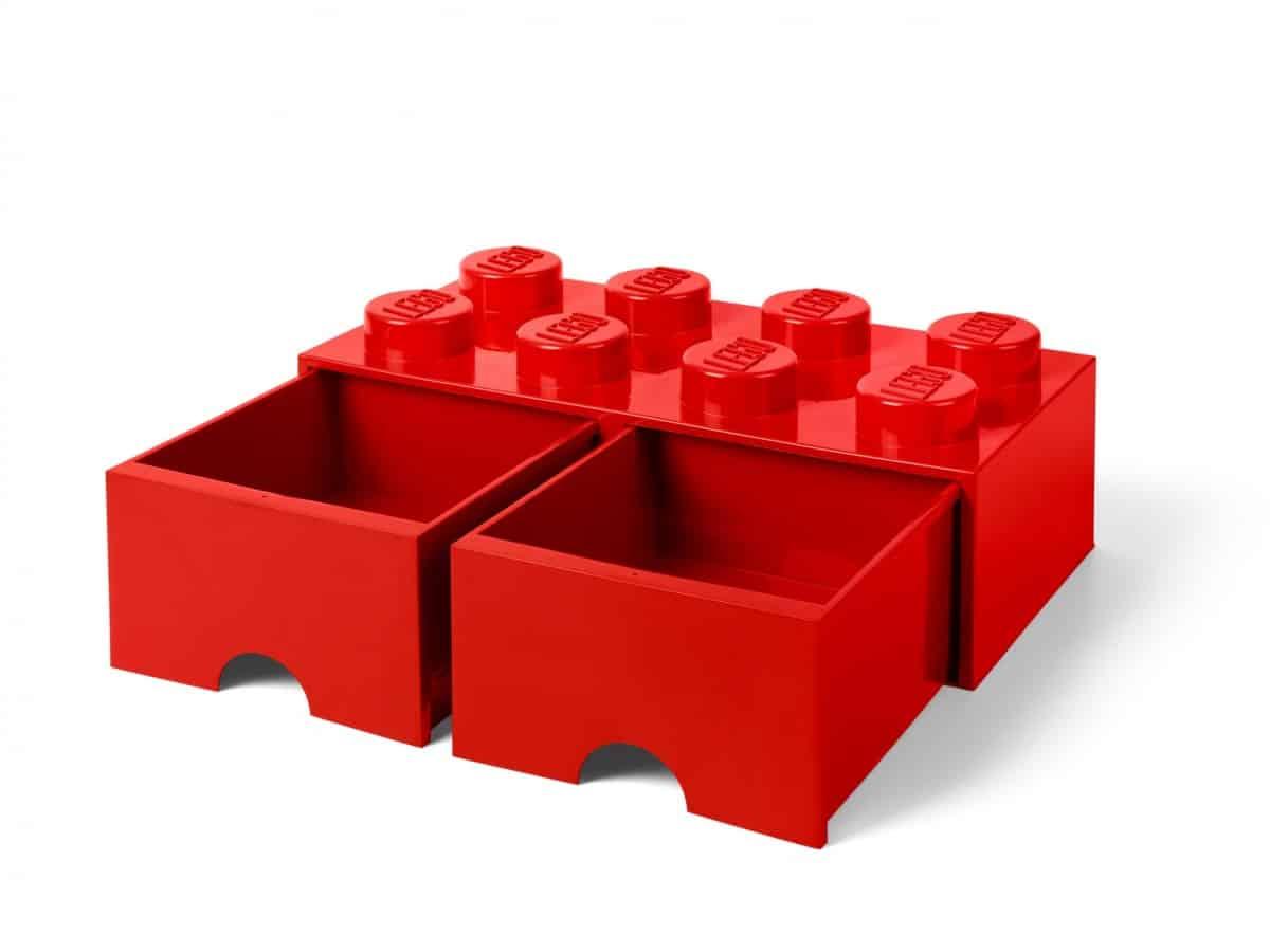 ladrillo de almacenamiento rojo de 8 espigas con cajones lego 5006131 scaled