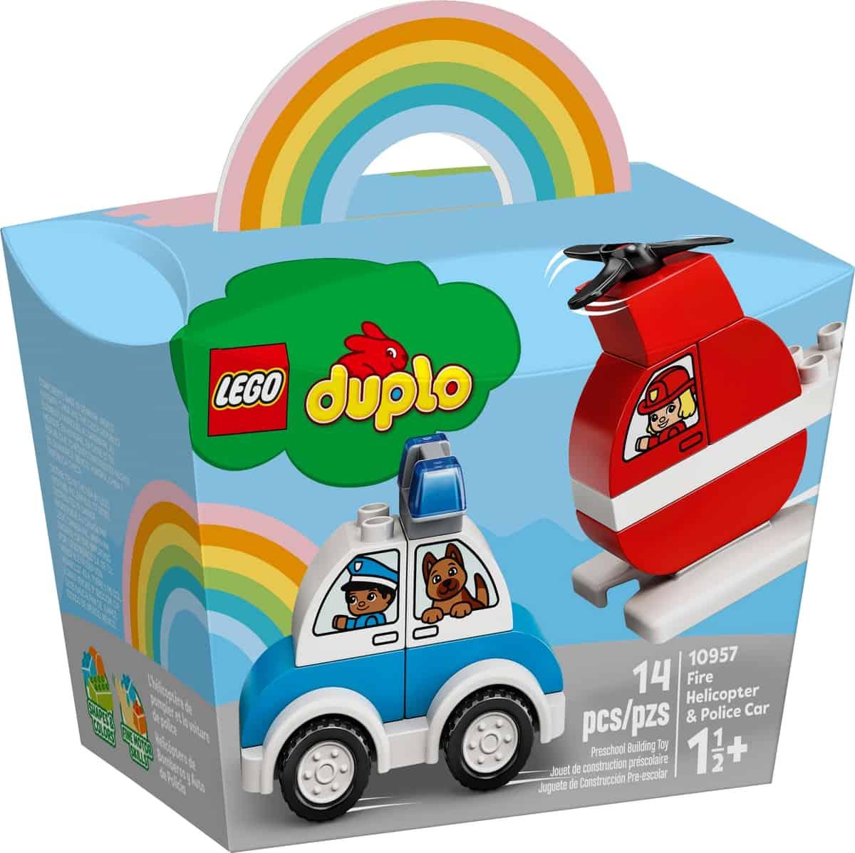 lego 10957 helicoptero de bomberos y coche de policia