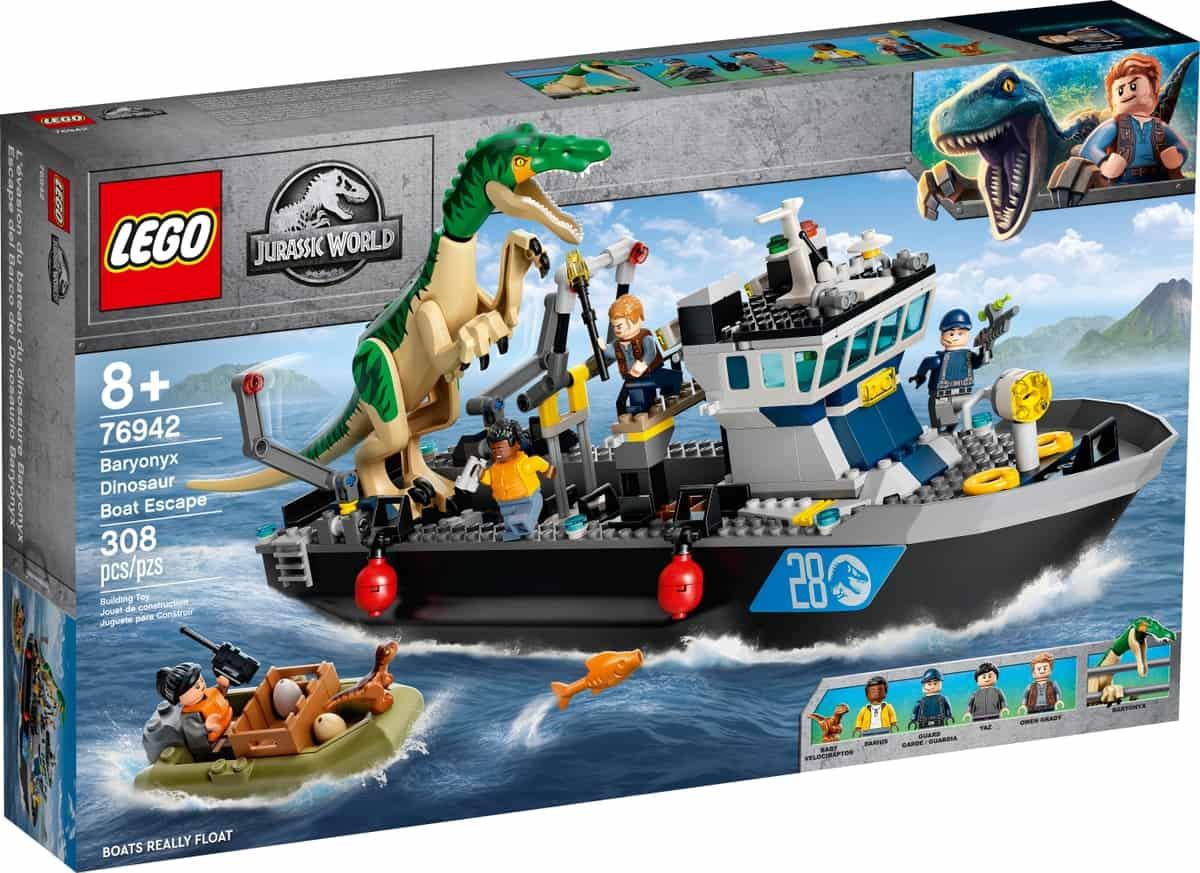 lego 76942 fuga del barco del dinosaurio